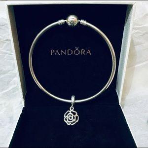 Pandora bracelet with flower charm